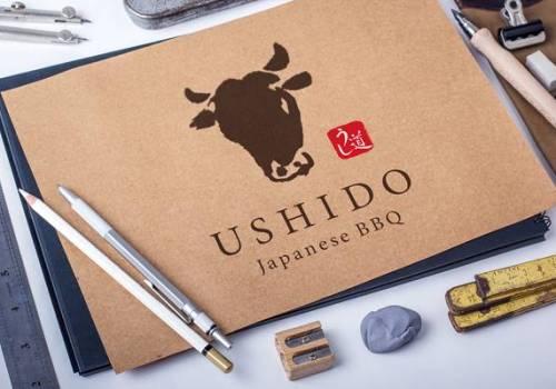 焼肉屋のロゴデザイン | うし道・USHIDO ベルリン